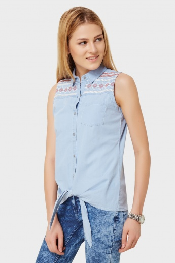 GINGER Printed Sleeveless Button Up Shirt