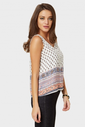 GINGER Button Up Moroccan Print Sleeveless Blouse