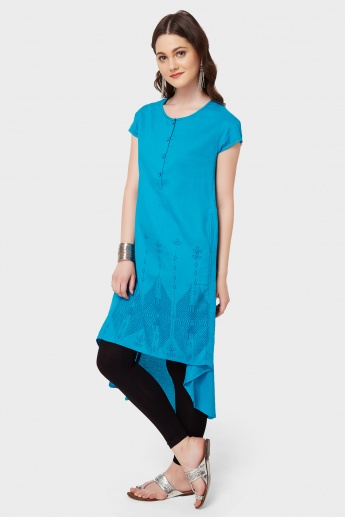GLOBAL DESI Printed High-Low Hem Kurta