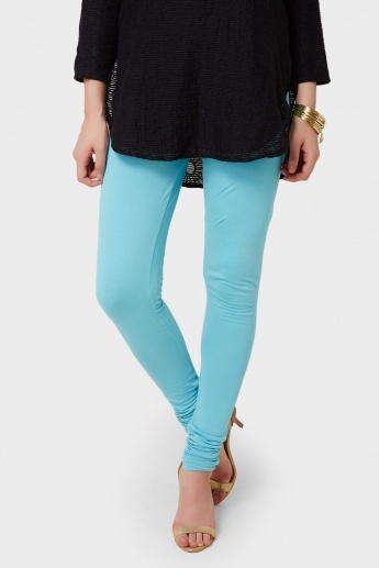 BIBA Solid Pleated Leggings
