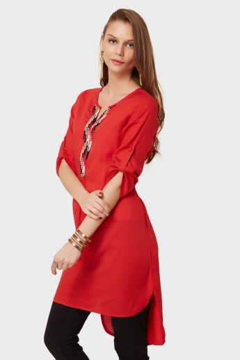 GLOBAL DESI Embroidered Neckline Roll-Up Sleeves Kurti