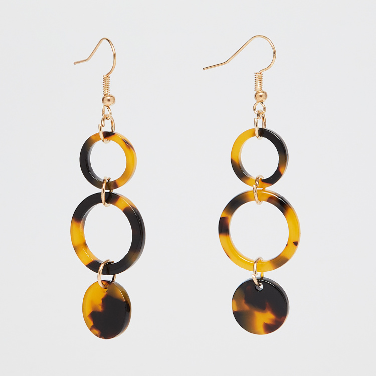 GINGER Printed Circular Drop Earrings thumbnail