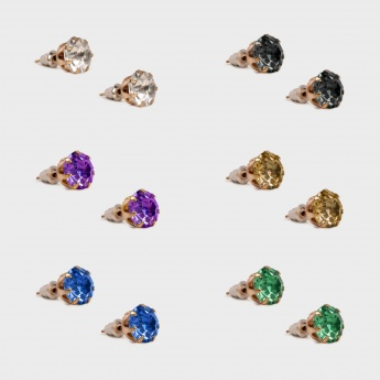 TONIQ Multi-Colour Stud Earrings - Set Of 6