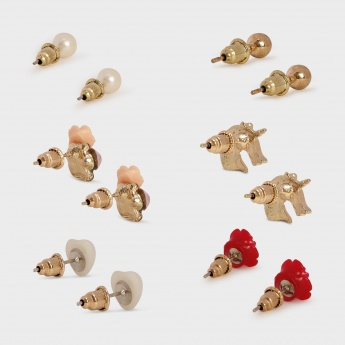 TONIQ Mixed Bunch Stud Earrings - Set Of 6