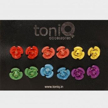 TONIQ Rosette Stud Earrings - Set Of 6