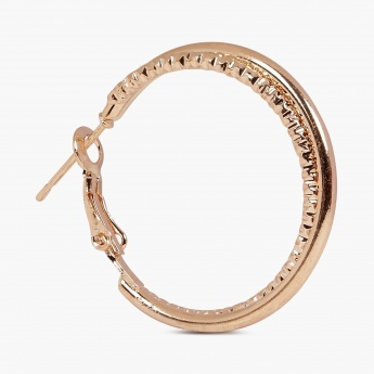 TONIQ Glam Gold Textured Hoop