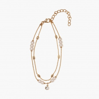 TONIQ Dewdrop Pearl Double Chain Anklet