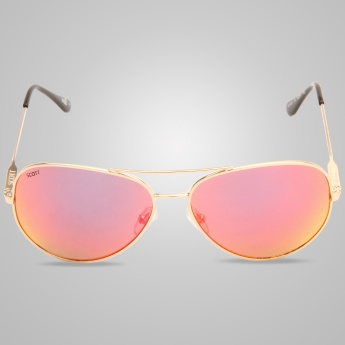 SCOTT Gold Tone Mirrored Aviator Sunglasses