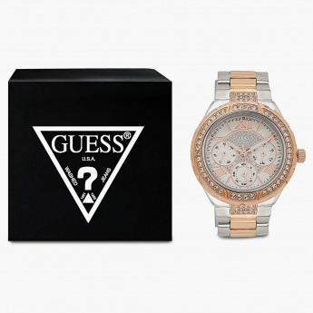 GUESS W0111L4 Women Multifunction Crystal Studded Watch