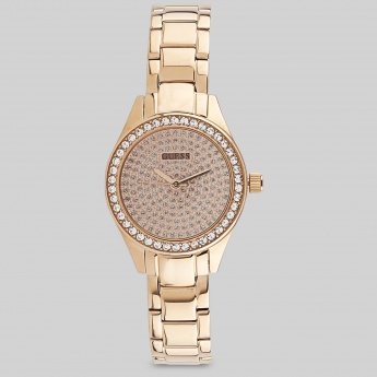 GUESS W0230L3 Women Crystal Studded Analog Watch