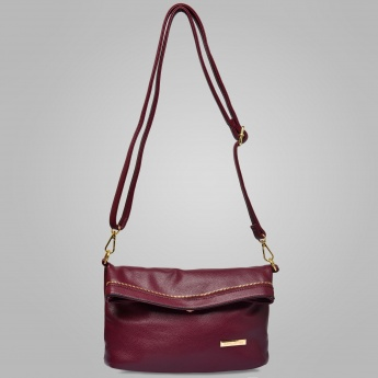 DAVID JONES Solid Fold-Over Sling Bag
