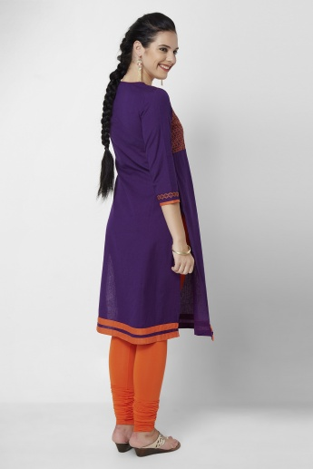 MELANGE Textured 3/4th Sleeves Kurta