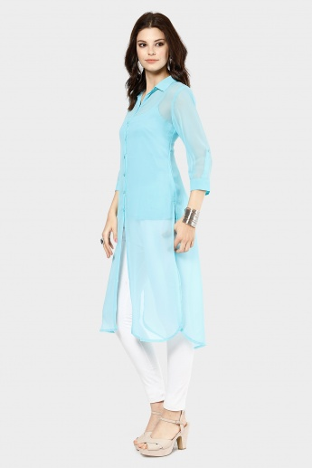 MELANGE Button Up Shirt Kurti
