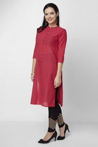 MELANGE Solid 3/4th Sleeves Button Placket Kurta