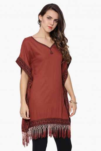 MELANGE Embroidered Tasselled Kaftan Kurti