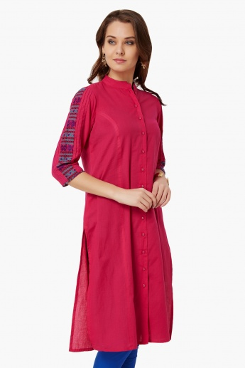 MELANGE Embroidered Sleeves Button-Up Kurta