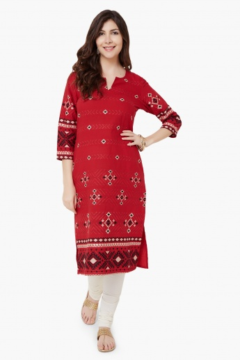 MELANGE Block Embroidered Kurta