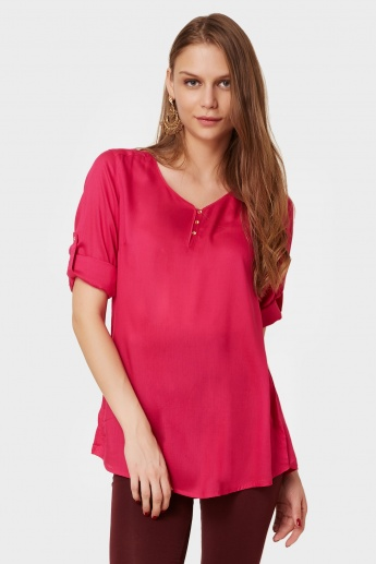 MELANGE Roll-Up Sleeves Solid Kurti