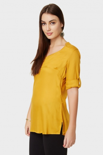 MELANGE Solid Roll-Up Sleeves Kurti