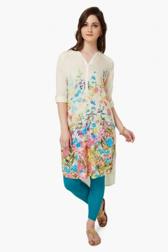 MELANGE Floral Print High-Low Hem Kurta
