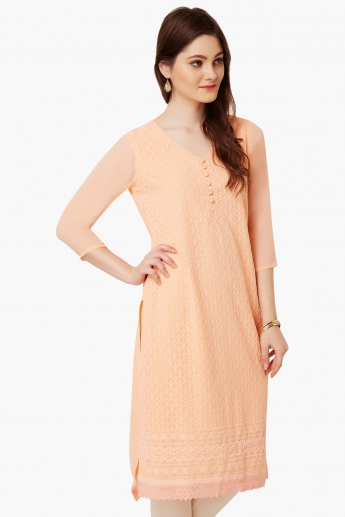 MELANGE Embroidered V-Neck Kurta