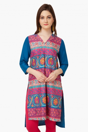 MELANGE Printed High-Low Hem Kurta