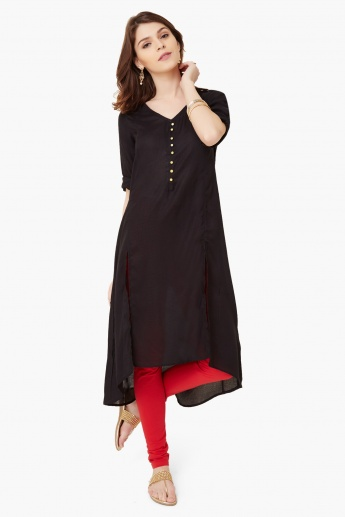 MELANGE Roll-Up Sleeves Long Kurta