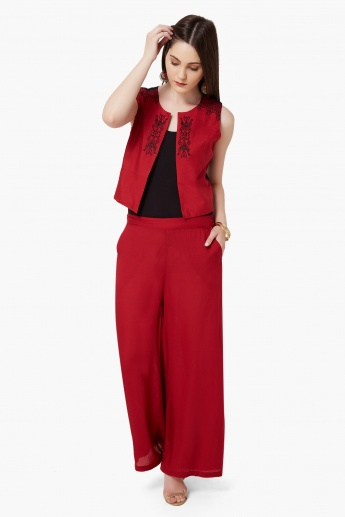 MELANGE Solid Pocketed Palazzos
