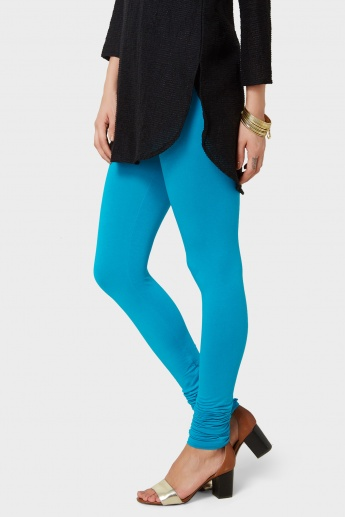 MELANGE Solid Pleated Leggings