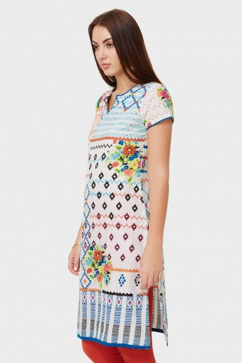 BIBA Printed Round Notch Neck Kurti