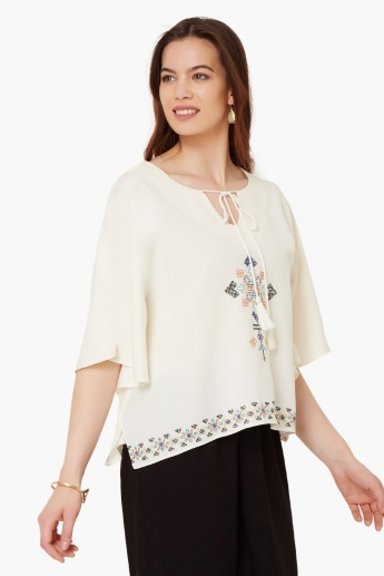 GLOBAL DESI Embroidered Flared Sleeves Blouse
