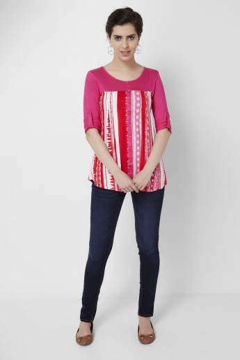 AND Pleated Knit Yoke Top