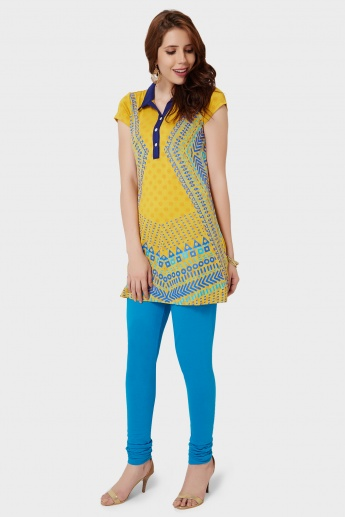 GLOBAL DESI Printed Kurti Collar Kurti
