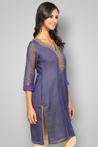 BIBA Round Notch Neck 3/4th Sleeves Kurta