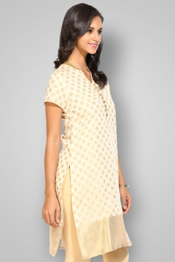 BIBA Band Collar Short Sleeves Straight Kurta