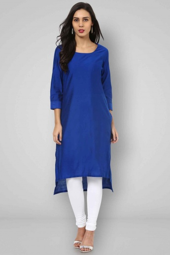 BIBA Round Neck 3/4th Sleeves Solid Kurta