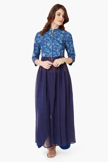 BIBA Printed Zip-Up Kurta & Pants Set