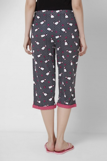 STRINGS Printed Nightwear Capris