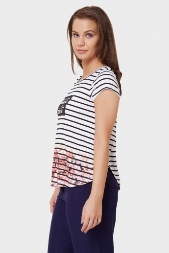 GINGER Stripes & Floral Print Top