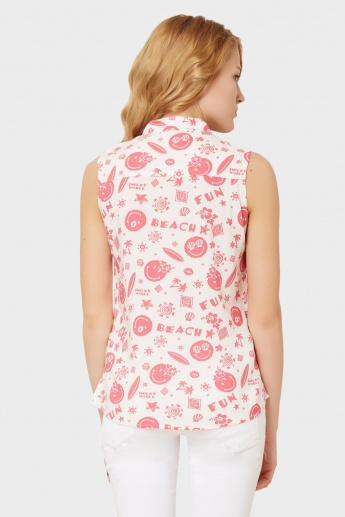 SMILEY Printed Sleeveless Shirt
