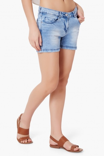 SMILEY Lightly Distressed Denim Shorts