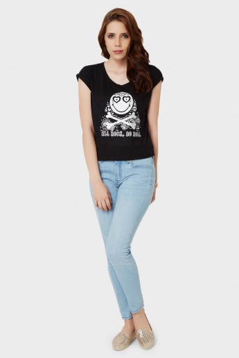 SMILEY All Rock No Roll Imprint Top