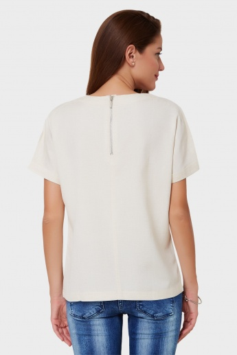 AND Solid Patch Pocket Top