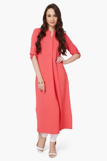 AND Solid Roll-Up Sleeves Kurta