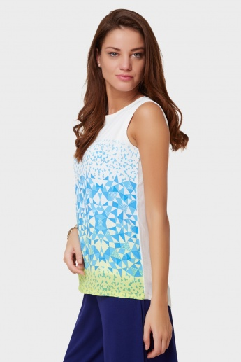 AND Geometric Print Sleeveless Blouse