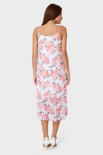 AND Rose Print Strappy Pleated Dress