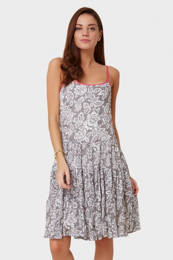 AND Printed Criss-Cross Back Strappy Dress