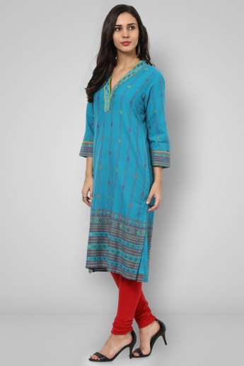 BIBA V-Neck 3/4th Sleeves Straight Kurta