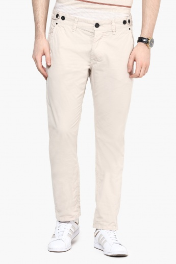BREAKBOUNCE Slim Fit Flat-Front Trousers