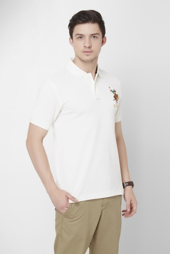 U.S. POLO ASSN. Solid Half Sleeves Slim Fit Polo T-shirt